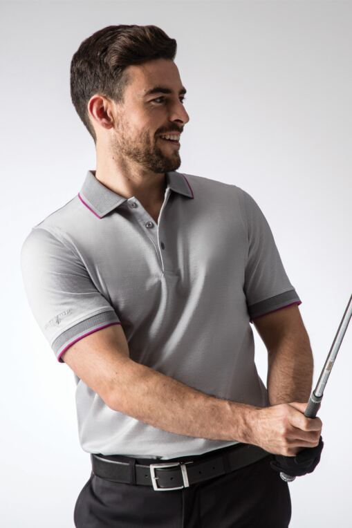 Mens Cross Dye Oxford Tipped Collar and Cuff Mercerised Cotton Golf Polo Shirt