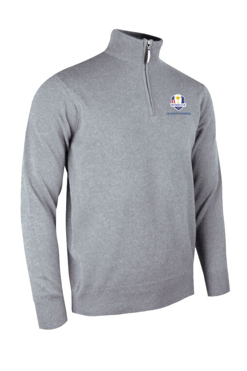 Official Ryder Cup 2018 Mens Zip Neck Water Repellent Lined Extra Fine Merino Wool Golf Sweater