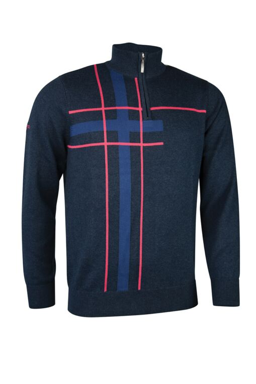 Mens Zip Neck Abstract Tartan Touch of Cashmere Golf Sweater