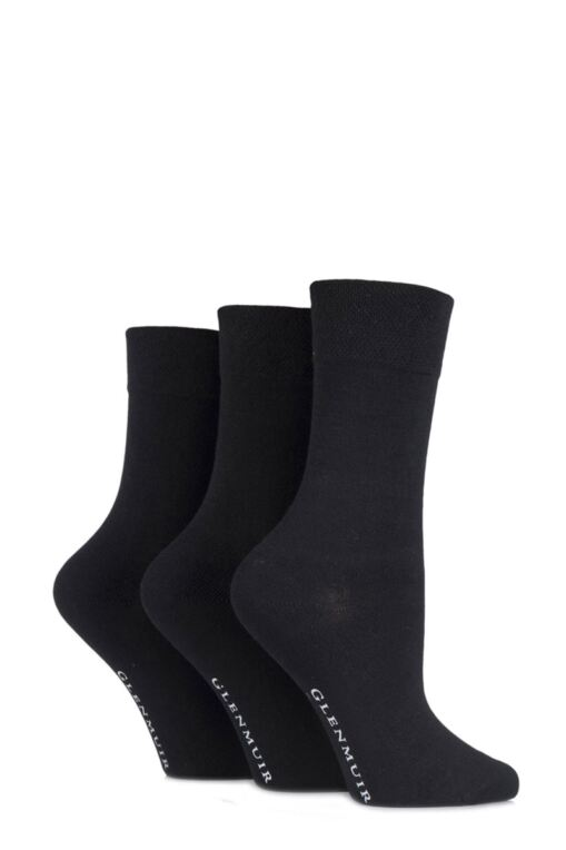 Ladies 3 Pair Comfort Cuff Plain Bamboo Socks