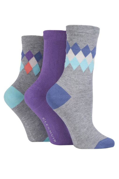 Ladies 3 Pair Diamond and Plain Bamboo Socks
