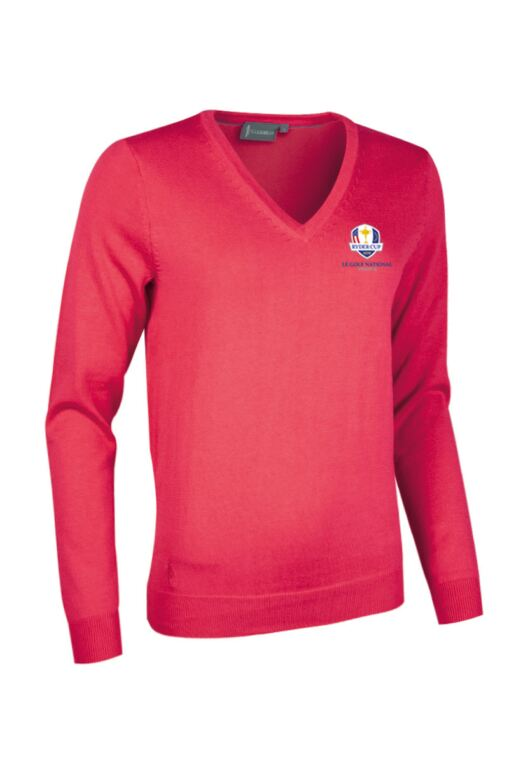 Official Ryder Cup 2018 Ladies V Neck Cotton Golf Sweater