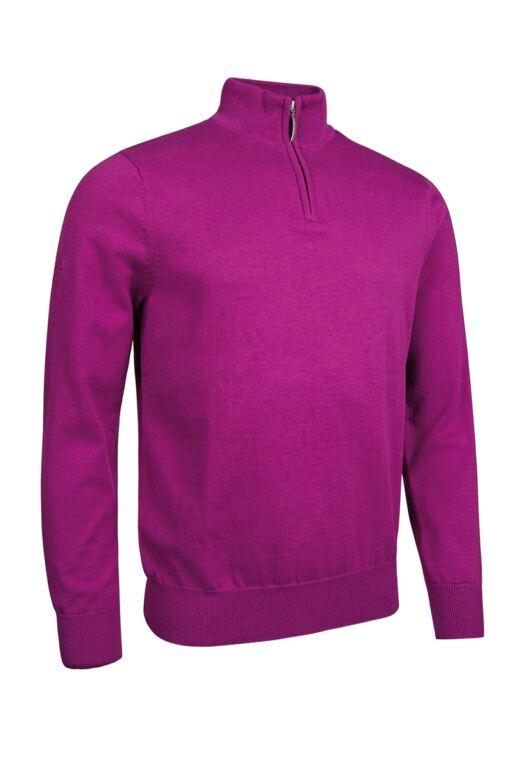 Mens Zip Neck Lightweight Cotton Golf Sweater
