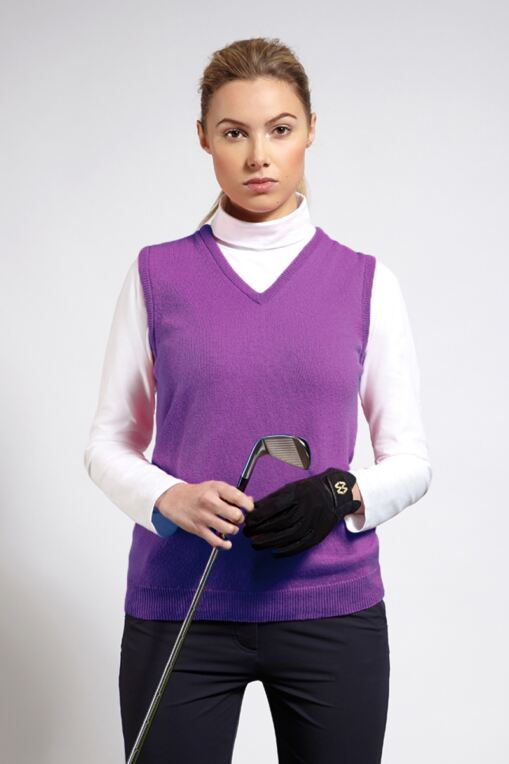 Ladies Dornoch Lambswool Sleeveless Slipover Golf Sweater - Sale