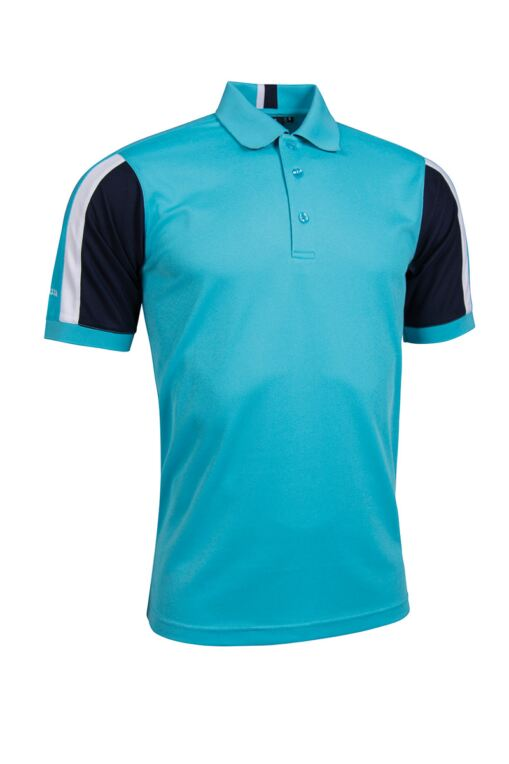 Mens Sleeve Panel Stripe Performance Pique Golf Polo Shirt
