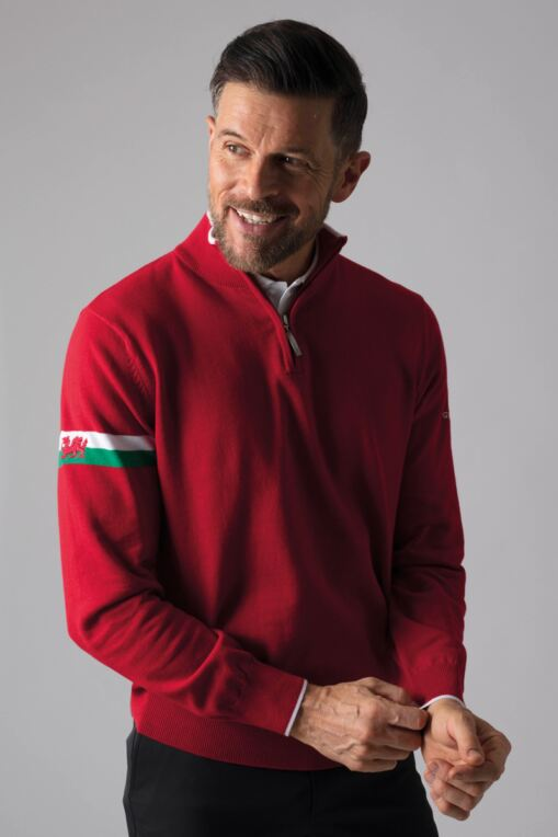 Mens Zip Neck Welsh Dragon Cotton Golf Sweater