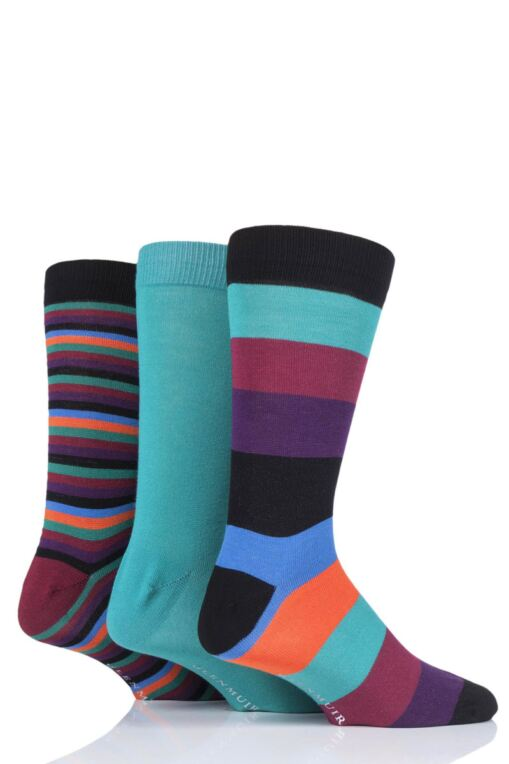 Mens 3 Pair Mixed Stripes Bamboo Socks in a Gift Box