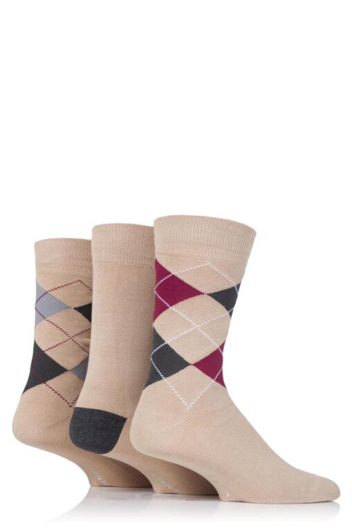Mens 3 Pair Classic Bamboo Argyle Socks