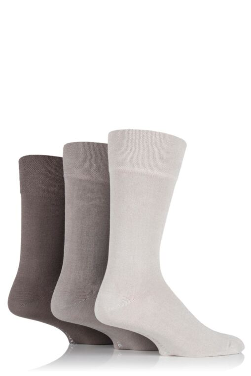 Mens 3 Pair Plain Comfort Cuff Socks