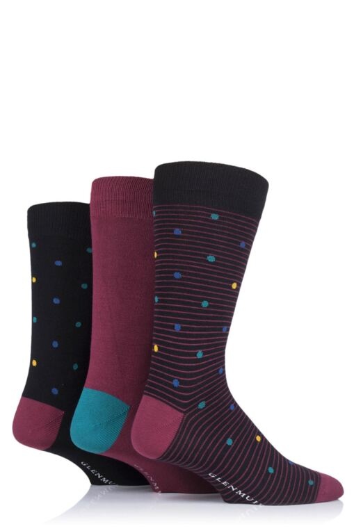 Mens 3 Pair Spots Bamboo Socks