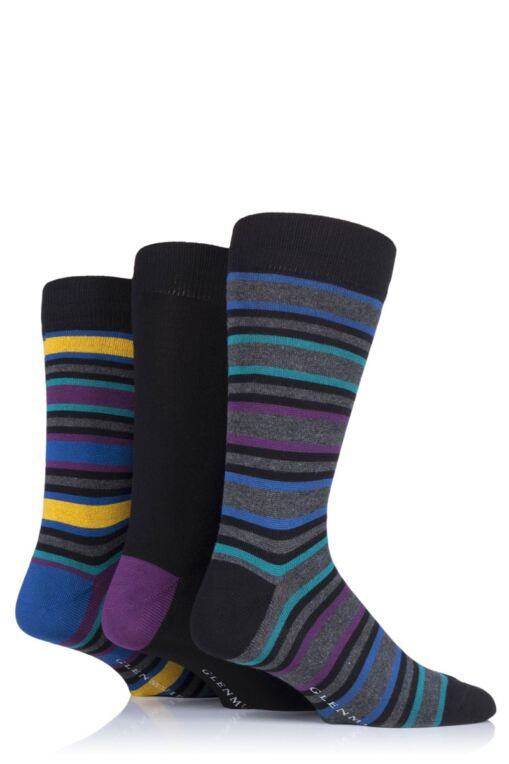 Mens 3 Pair Stripes Bamboo Socks