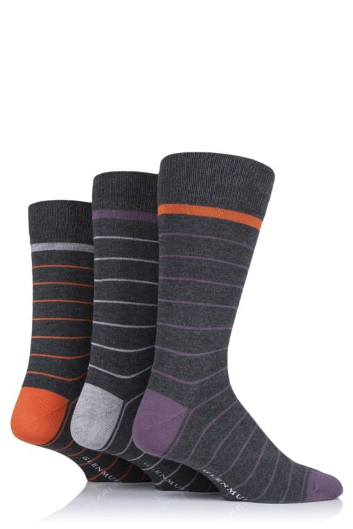 Mens 3 Pair Fine Stripes Bamboo Socks