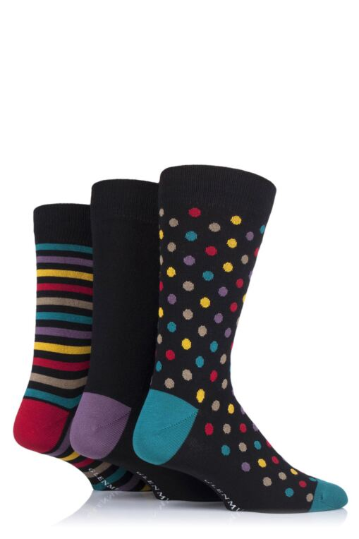 Mens 3 Pair Dots and Stripes Bamboo Socks
