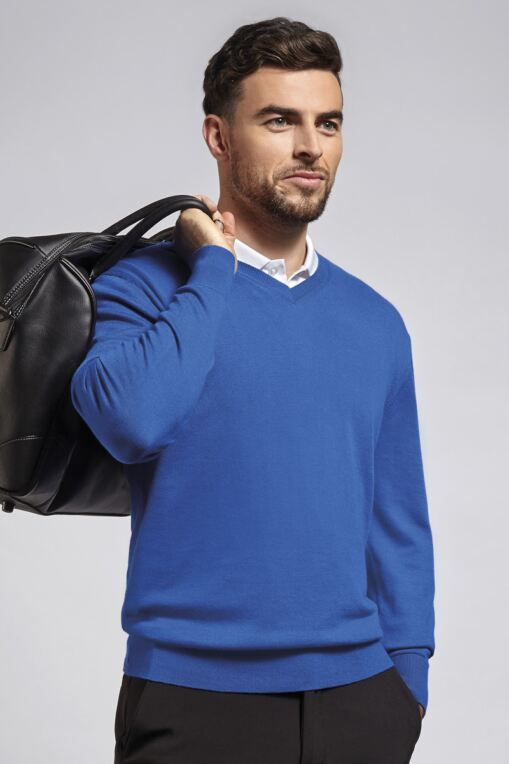 Mens V Neck Single Rib Neck Touch of Cashmere Golf Sweater - Sale
