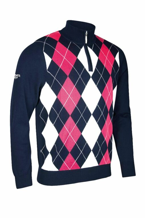 Mens Zip Neck Diamond Intarsia Cotton Golf Sweater - Sale