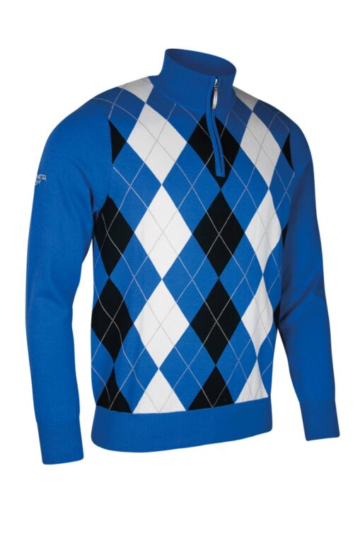 Official Ryder Cup 2018 Zip Neck Diamond Intarsia Cotton Golf Sweater