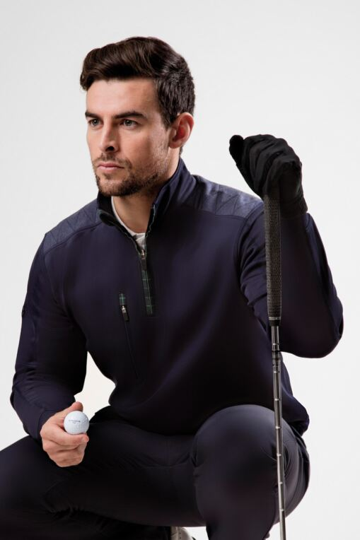 Mens Zip Neck Shoulder Panel Detail Performance Golf Midlayer