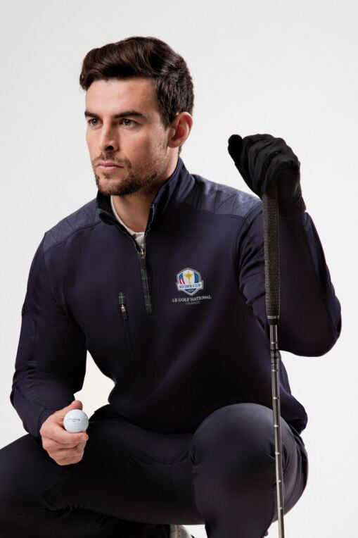 Official Ryder Cup 2018 Mens Zip Neck Shoulder Panel Detail Performance Golf Midlayer