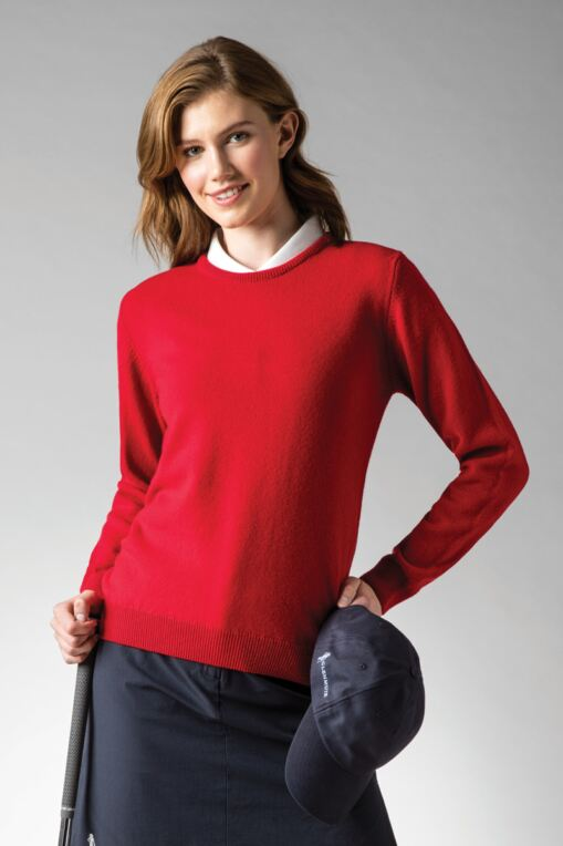 Ladies Crew Neck Lambswool Golf Sweater