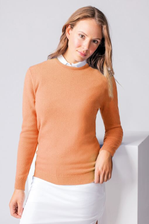 Ladies Crew Neck Lambswool Golf Sweater - Sale