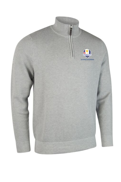 Official Ryder Cup 2018 Mens Zip Neck Textured Suede Placket Cotton Golf Sweater