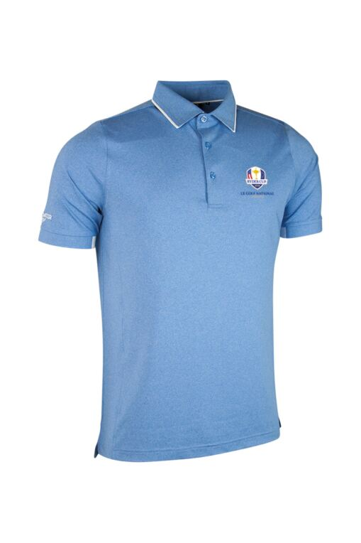 Official Ryder Cup 2018 Mens Melange Tipped Collar and Cuff Golf Polo Shirt