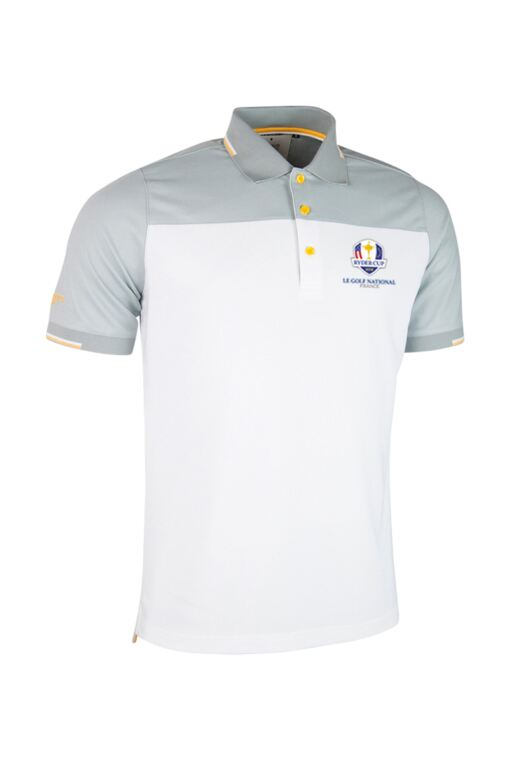 Official Ryder Cup 2018 Mens Colour Block Jacquard Collar and Cuffs Golf Polo Shirt