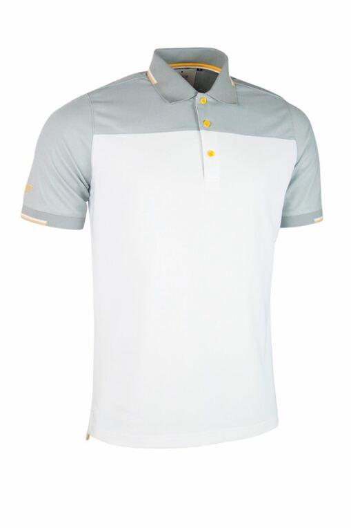 aec49c41c339 Mens Colour Block Jacquard Collar and Cuffs Performance Pique Golf Polo  Shirt - Sale