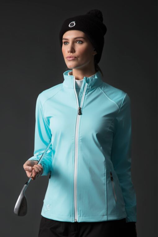 Ladies Zip Front Stitch Detail Water Repellent Golf Jacket
