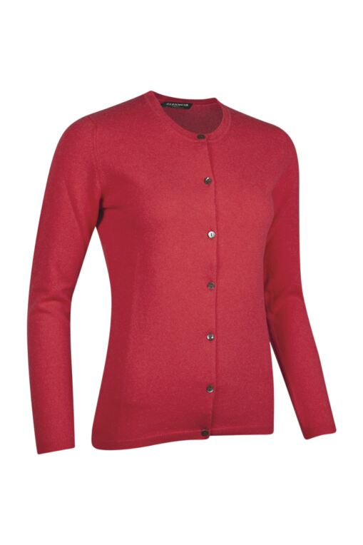 Ladies Crew Neck Button Front Cashmere Golf Cardigan