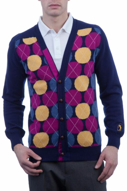 Heritage 100% Extrafine Lambswool Spot Argyle V Neck Fitted Cardigan - Sale