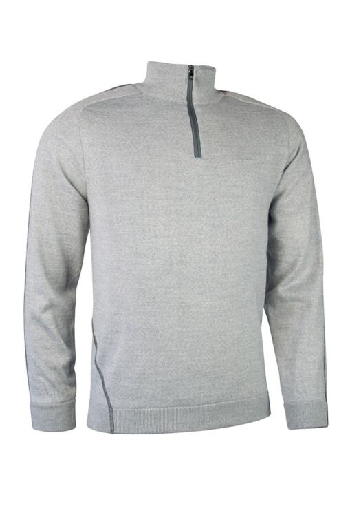 Mens Zip Neck Raglan Sleeve Water Repellent Lined Merino Blend Golf Sweater
