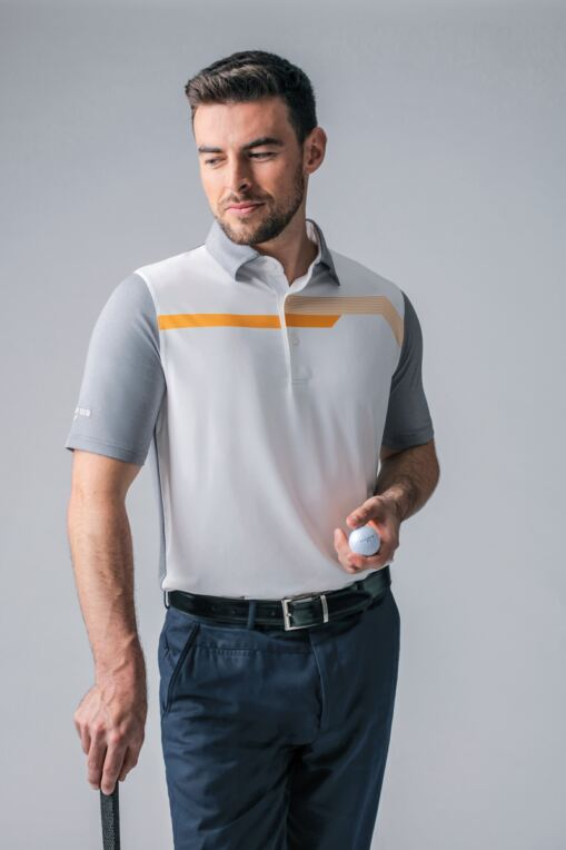 Mens Melange Chest Stripe Performance Golf Polo Shirt - SALE