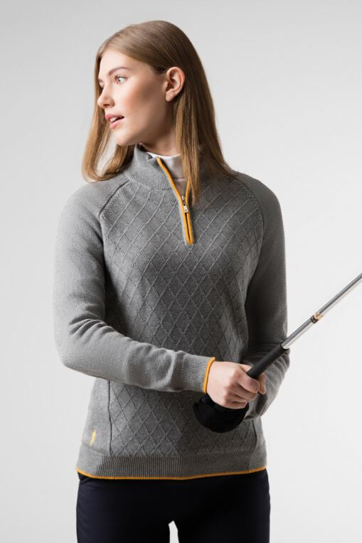 Ladies Zip Neck Argyle Stitch Touch of Cashmere Golf Sweater