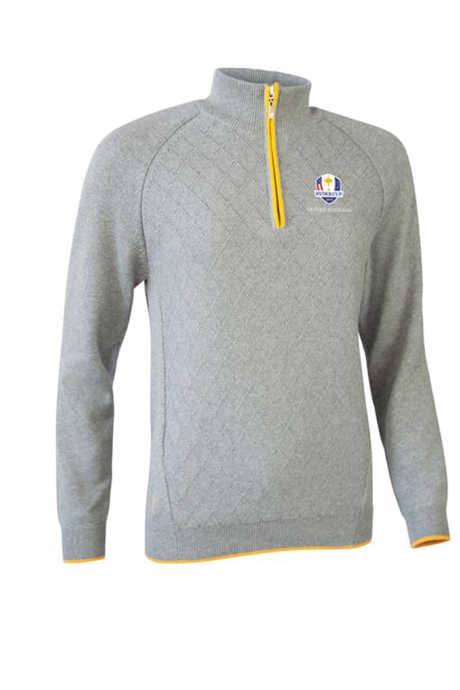 Official Ryder Cup 2018 Ladies Zip Neck Argyle Stitch Touch of Cashmere Golf Sweater