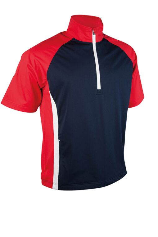 Mens Zip Neck Half Sleeve Raglan Panelled Showerproof Golf Windshirt