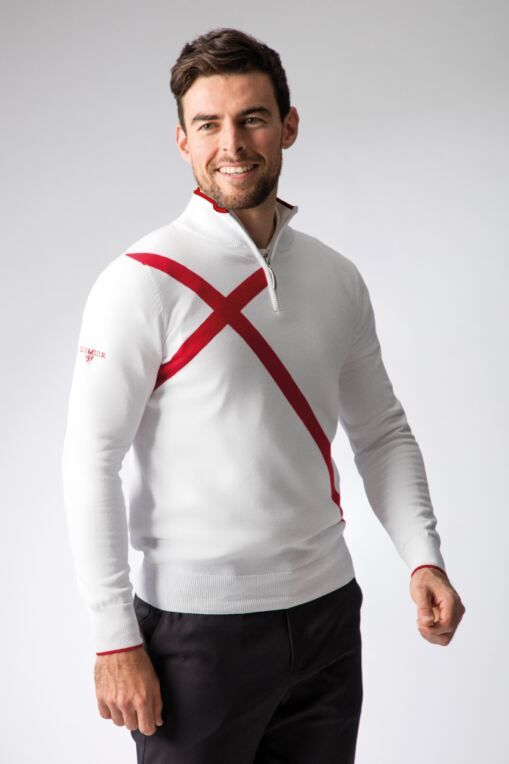 Mens Zip Neck St George Cross Cotton Golf Sweater