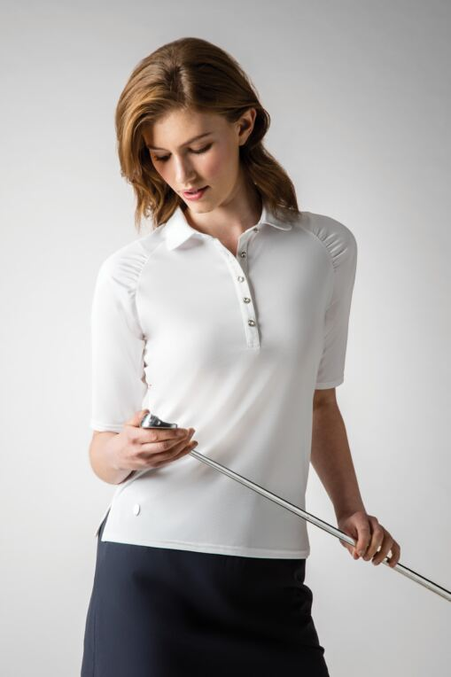 Ladies Raglan Gathered Mid Length Sleeve Performance Pique Golf Polo Shirt