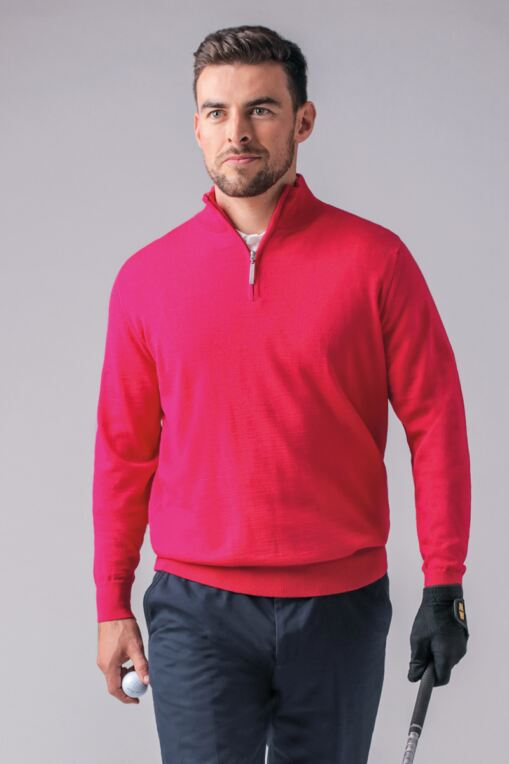 Mens Zip Neck Merino Wool Golf Sweater - Sale
