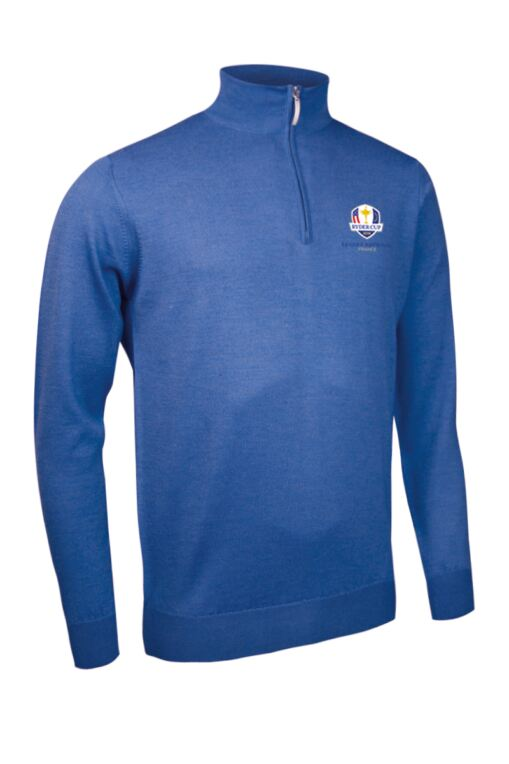 Official Ryder Cup 2018 Mens Zip Neck Merino Wool Sweater