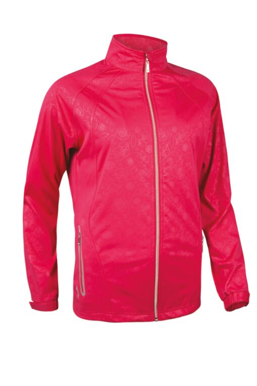 Ladies Zip Front Embossed Patterned Water Repellent Performance Golf Jacket