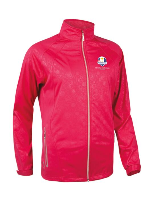 Official Ryder Cup 2018 Ladies Zip Front Embossed Patterned Water Repellent Performance Golf Jacket