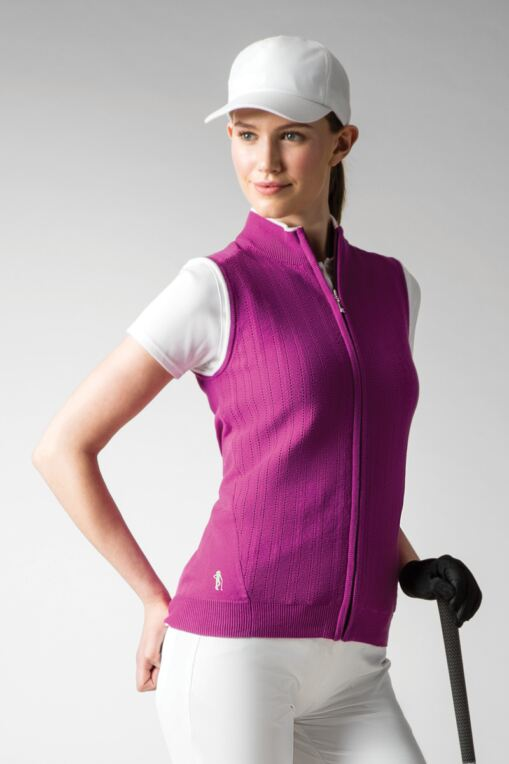 Ladies Zip Front Micro Pattern Sleeveless Cotton Golf Gilet