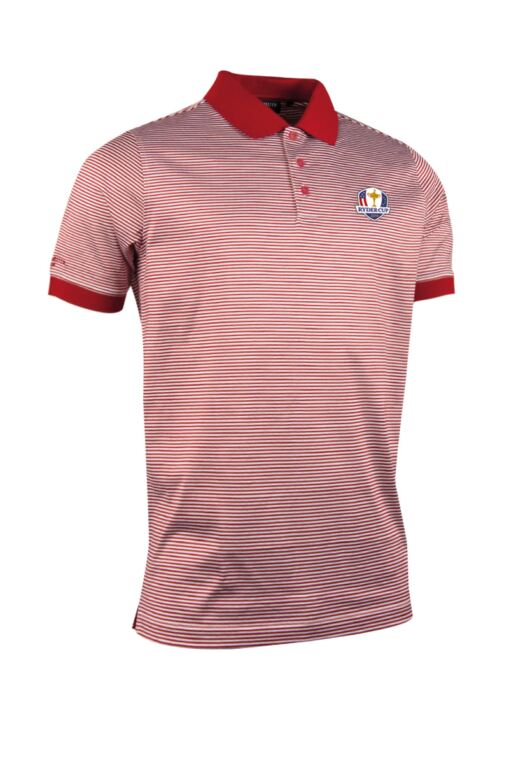 Official Ryder Cup 2018 Mens Rib Cuff Narrow Stripe Luxury Mercerised Cotton Golf Polo Shirt
