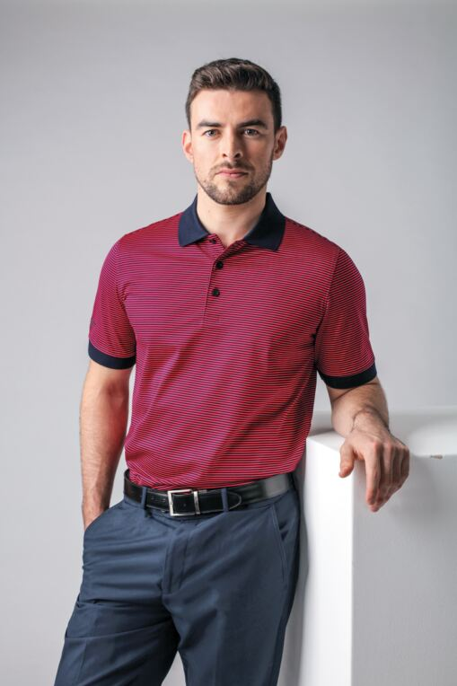 Mens Rib Cuff Narrow Stripe Mercerised Cotton Golf Polo Shirt - Sale