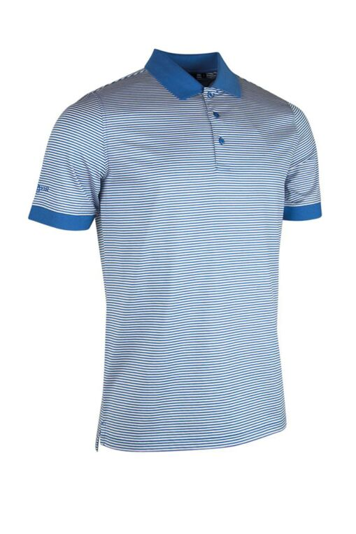 Mens Rib Cuff Narrow Stripe Mercerised Cotton Golf Polo Shirt