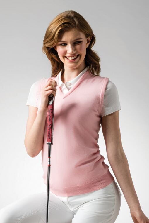 Ladies V Neck Merino Wool Golf Slipover