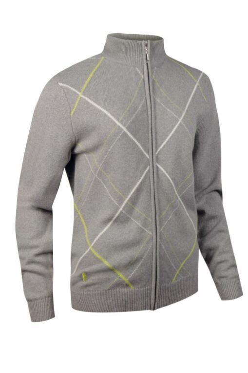 Ladies Lambswool Zip Front Diamond Intarsia Golf Cardigan - Sale