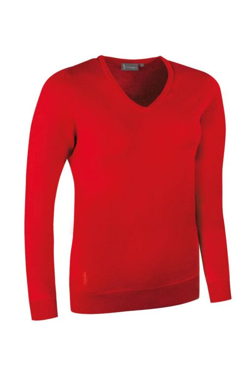 Ladies V Neck Merino Wool Golf Sweater