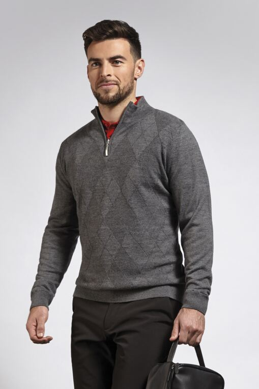 Mens Zip Neck Self Colour Argyle Pattern Water Repellent Lined Merino Blend Golf Sweater - Sale